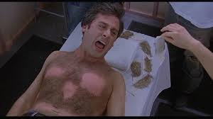"""Kelly Clarkson!"" Steve Carell had full hair growth on his chest in, ""The Forty Year Old Virgin."""