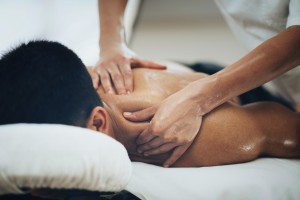 A man receiving a sports massage